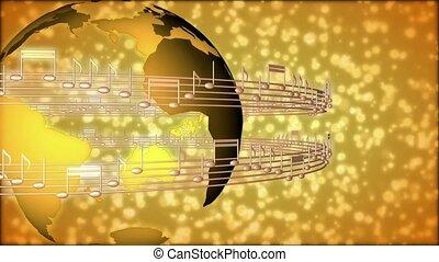 note musicali, circondare, mondo
