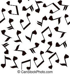 note musicali, con, cuori