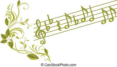 note musicali, con, ornamentale, ramoscello