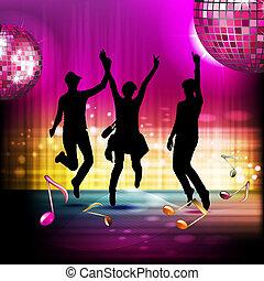 note musicali, con, palla discoteca