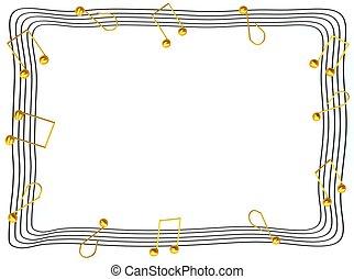 note musicali, cornice foto, 3d, reso