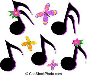 note musicali, farfalle, e, flo