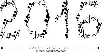 note musicali, in, il, forma, di, numeri, anno, 2016