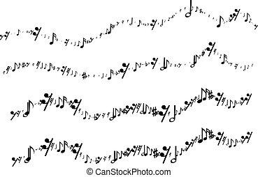 note musicali, in, il, forma, di, uno, linea ondulata