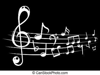 note musicali, personale, fondo, con, lines., vettore, illustration.