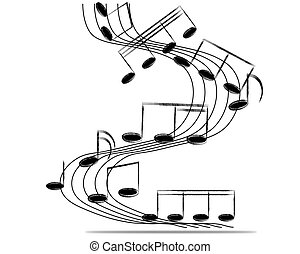 note musicali, personale, fondo, su, white., vettore, illustration.