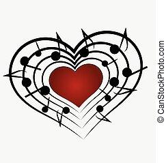 note, musique, coeur, amour, logo