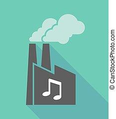 note, musique, usine, icône