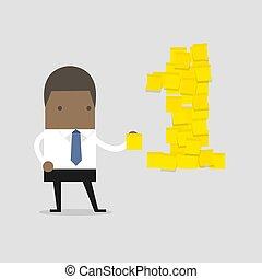 note., numero, giallo, uno, africano, uomo affari, appiccicoso