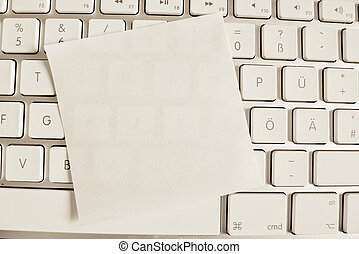 note on computer keyboard: blank
