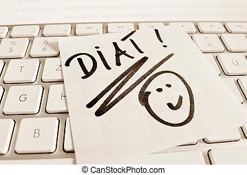 note on computer keyboard: diet