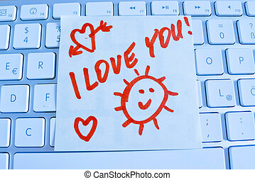 note on computer keyboard i love you