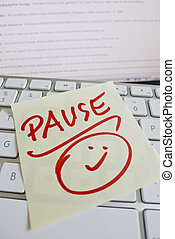 note on computer keyboard: pause