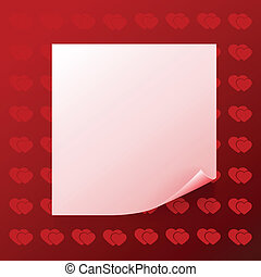 Note on red background with hearts