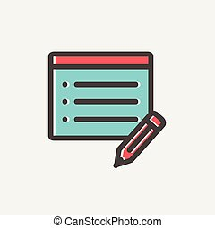 Note pad and pencil thin line icon