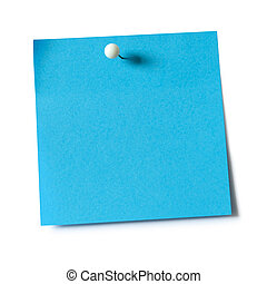 Note pad and push pin - Blue paper note pad attached with...