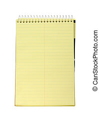 Yellow spiral bound notepad isolated on white