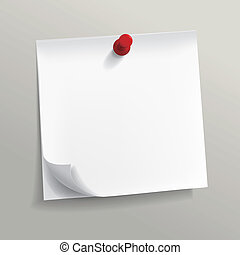 note papel, alfiler, blanco
