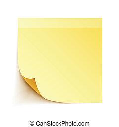 note papel, palo, amarillo