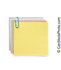 note paper and clip on white