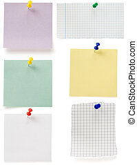 note paper and tack on white - note paper and tack isolated...