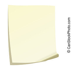 Note paper - Illustration of note paper with a curl. Vector