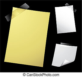 Note Paper on Black - Various vector note paper for text
