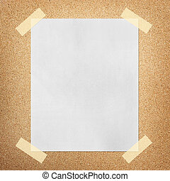 Note paper on cork board background