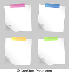 Note paper set - Set of white sticky note papers for you.