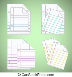Note paper sheet with colorful lines
