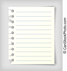 Note paper sheet with lines. - Small note paper sheet with...