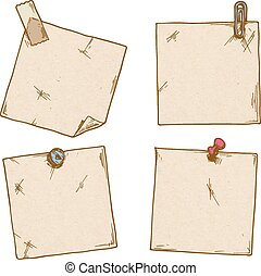 note paper - Set of stickers with a clip, office pins and...