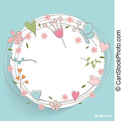 Note paper with hearts and flowers, vector illustration.