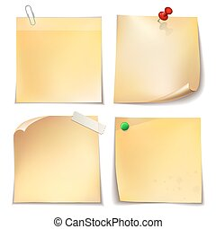 Note paper with metal paper clip, green and red push pins on white background.
