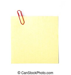 note paper with paper clip on white background