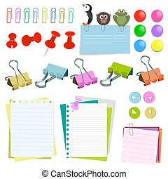 Note paper with pins and clips different color
