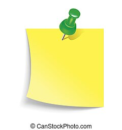 Note paper with push pin icon, realistic style