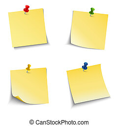 Note paper with push pin