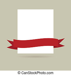 Note paper with red banner. Vector illustration for your design