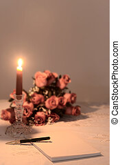 note paper with romantic setting