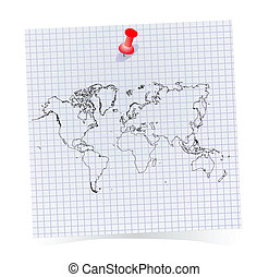 note paper with world map - Vector note paper with world map