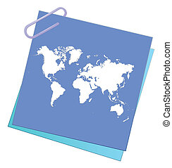 note paper with world map