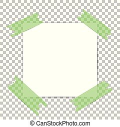 Note papers. Blank paper with green sticker isolated on white background. Vector illustration.