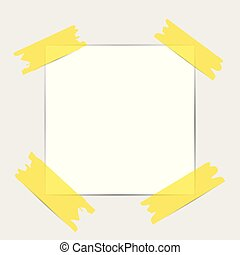 Note papers. Blank paper with yellow sticker isolated on white background. Vector illustration.