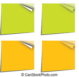 note papers in canary yellow and green with page curl