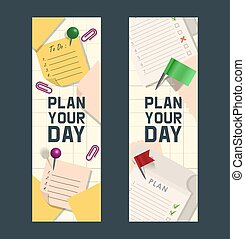 Note papers vector page of notepad or sheets of nootbook and stickers for memos messages reminders pin up on board with tack flag thumbtack backdrop set of empty notepaper illustration background