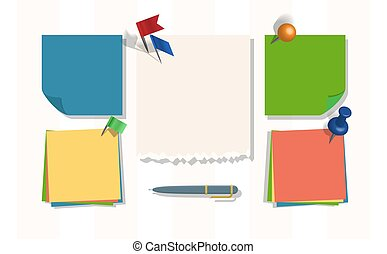 Note papers vector page of notepad or sheets of nootbook and stickers for memos messages reminders pin up on board with tack flag thumbtack backdrop illustration background