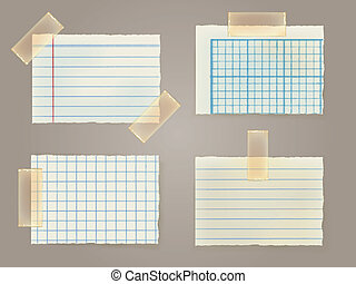 Note Papers with a sticky tape stuck to the wall - Vector...