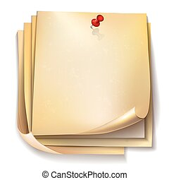 Note papers with red pin on white background.