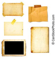 note, papier brun, vieux, fond